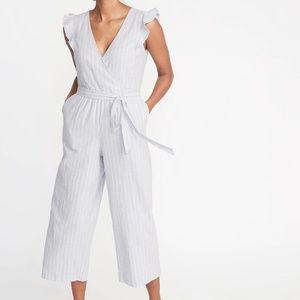 Old Navy Pants - Faux Wrap Tie Belt(BLUE)Linen Blend Jumpsuit Med